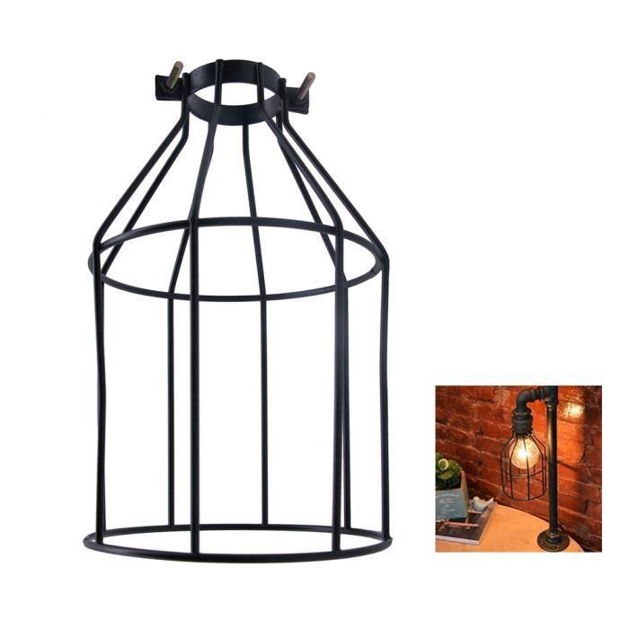 Ampoule en métal Garde Pince Lampe Cage Vintage Porte-lampe Style Ouvert Noir Industriel Fil De Fer Cage À Oiseaux
