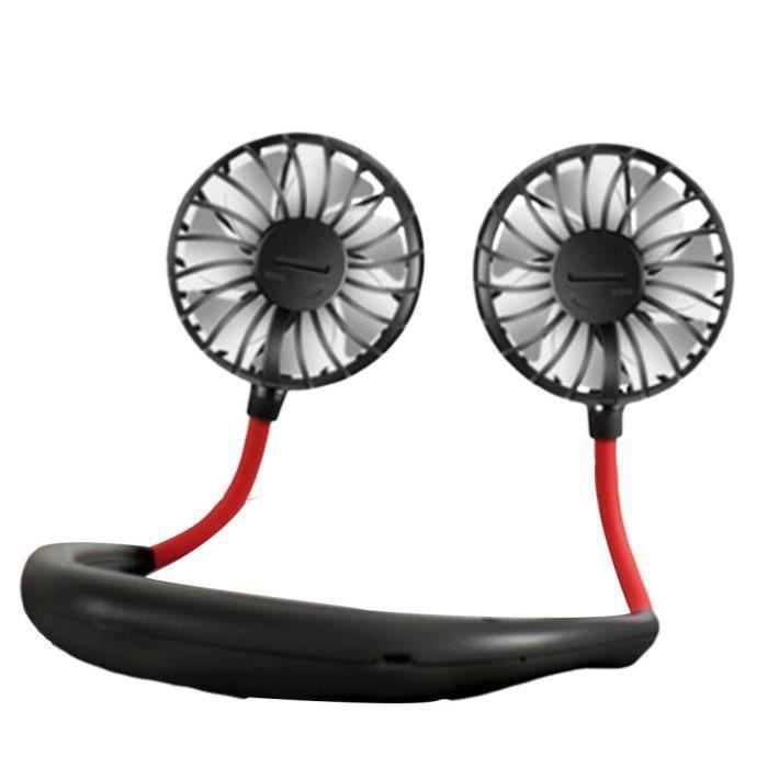 Mini Ventilateur Rechargeable USB Mains Libres, Ventilateur Sportif Portable Suspendu Au Cou, pour Été Le Sport - Noir