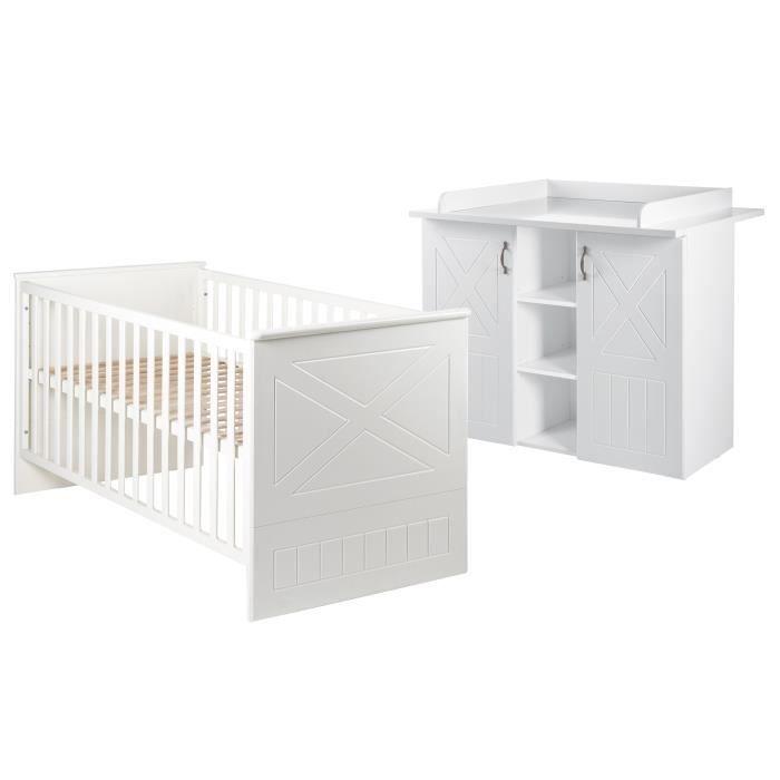 ROBA Ensemble chambre bébé -Constantin-, lit bébé 70x140 cm et commode à langer, blanc