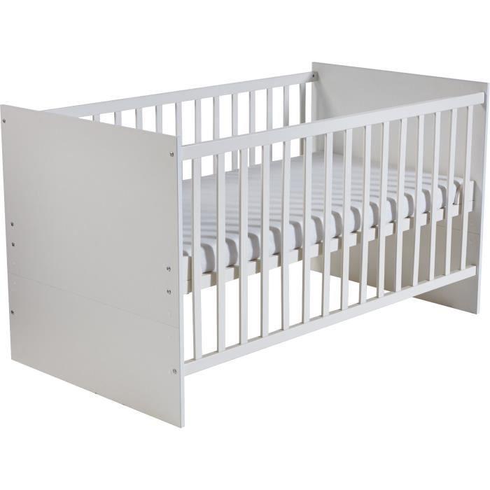 ROBA Lit bébé évolutif -Maren- 70x140 cm, blanc, réglable sur 3 hauteurs, barres plates, transformable en lit enfant