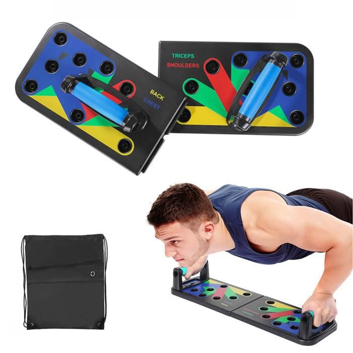 9 in 1 Folding System Push-up Bracket Board Portable Fitness Workout Gym Exercise Stands for Home Fitness Training