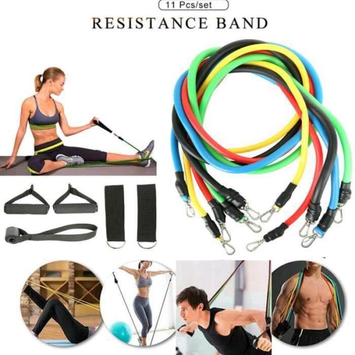 ZF09658-Bandes de Résistance Set Elastiques, Artizlee Kit de 11 Accessoires Musculation-Bandes de Fitness Exercice Elastiques Yoga