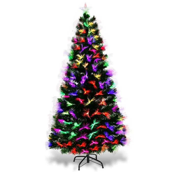 Sapin De Noël Artificiel Avec Lumières Led 180cm Et Pied En
