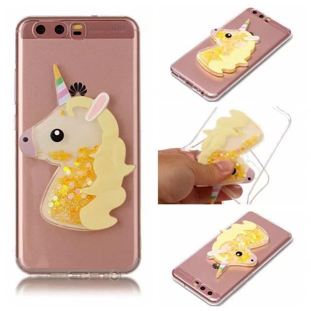 Coque Huawei P8 Lite (2017 Version).Licorne jaune miroirs pierres ...