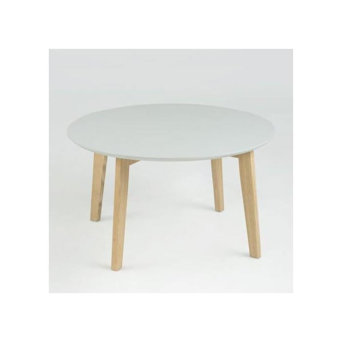 Table basse ronde lemon gris 80 cm achat vente table for Table basse scandinave ronde copenhague 80