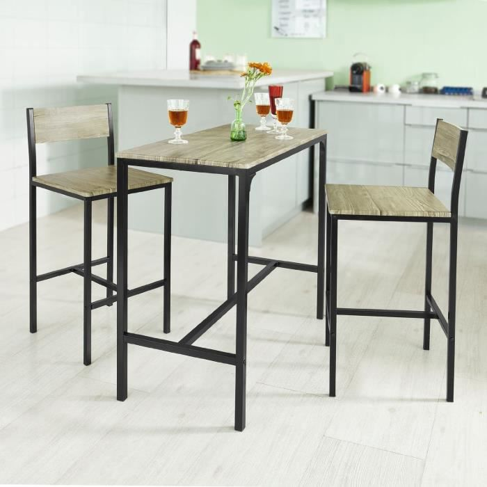Set de 1 table 2 chaises table mange debout table haute - Table de cuisine avec chaises ...
