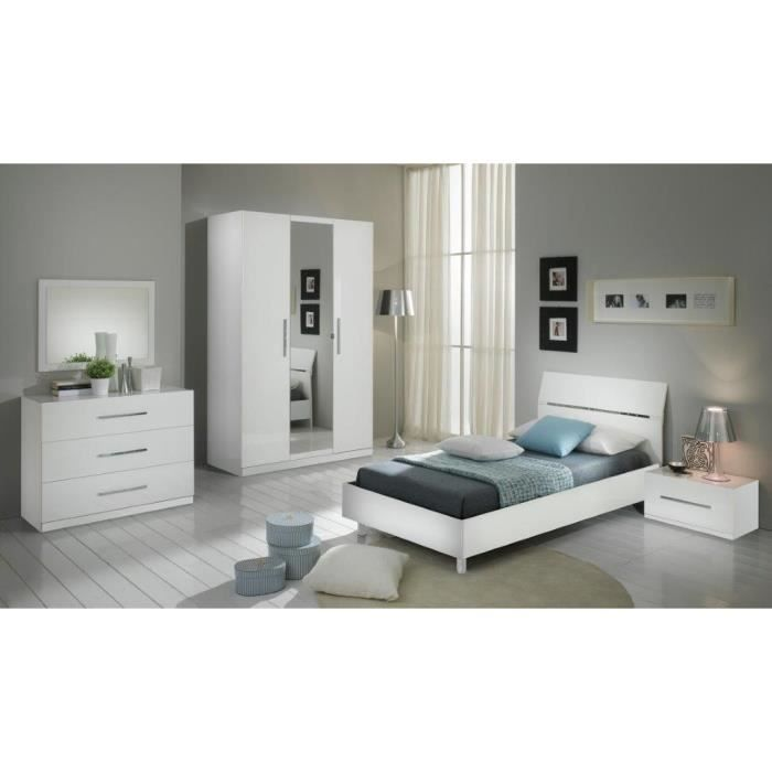 chambre coucher mod le gloria blanche laquee armoire 3p. Black Bedroom Furniture Sets. Home Design Ideas