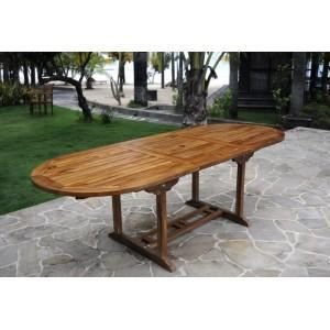 Table de jardin en teck 10 personnes table ovale achat for Table cuisine teck