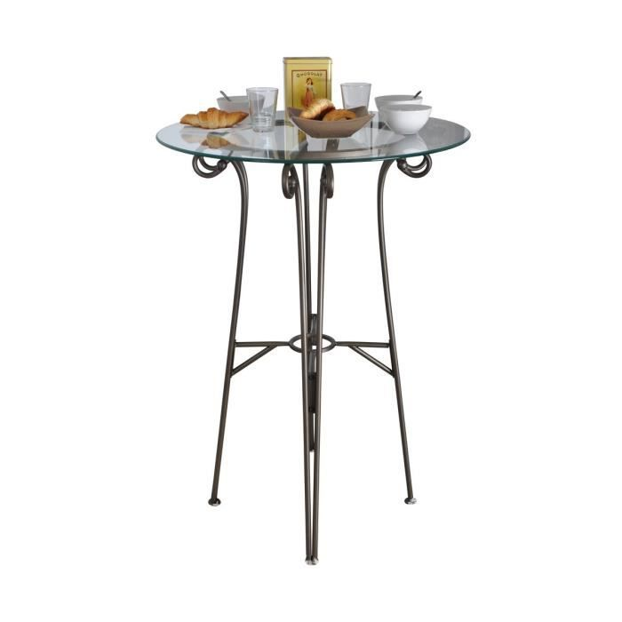 Moka table haute ronde marron achat vente table a for Table haute a manger