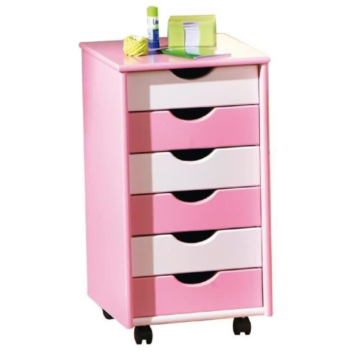 caisson de bureau enfant 6 tiroirs rose et blanc achat. Black Bedroom Furniture Sets. Home Design Ideas