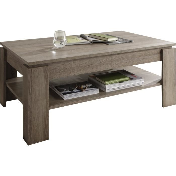 Table basse design coloris ch ne fonc achat vente for Table de salon en chene