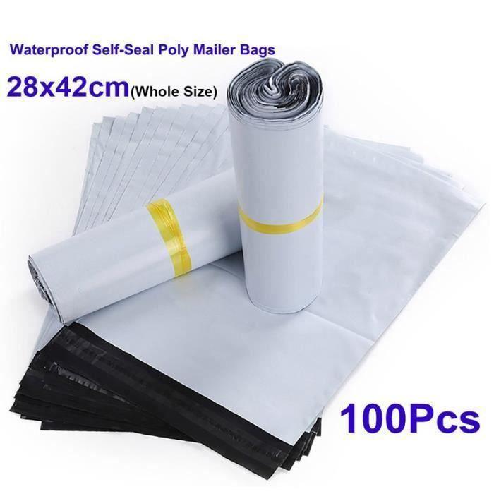 JUNSHUO 100 PCS sacs postaux 280 mm x 420 mm,Sacs daffranchissement Seal Sacs dexp/édition postaux Sacs demballage,couleur grise en plastique poly/éthyl/ène Peel grande taille