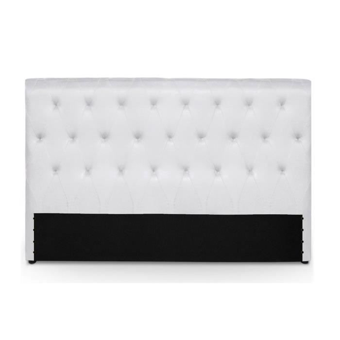 t te de lit capitonn e 180 cm pu blanc athena achat. Black Bedroom Furniture Sets. Home Design Ideas