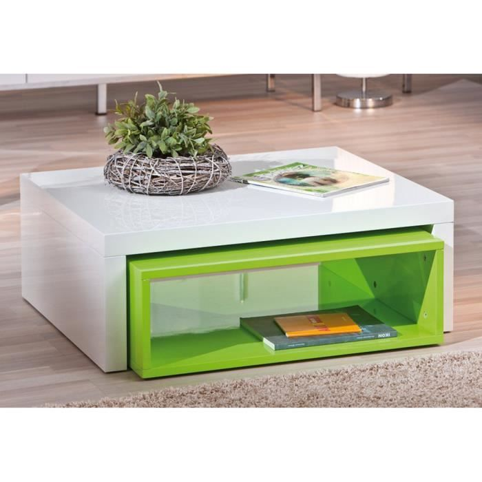 Table basse en blanc brillant vert 70 x 82 x 3 achat vente table bass - Table basse blanc brillant ...