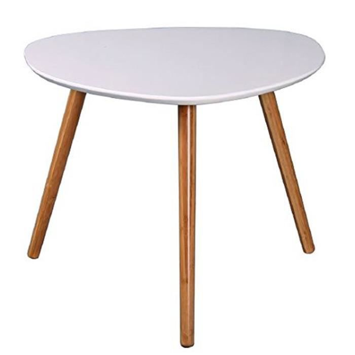 TABLE BASSE Table Basse Zoe, Blanc et Bambou, L60 x P60 x H40.
