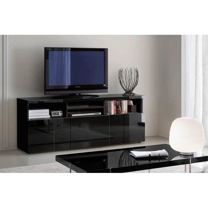 Buffet meuble tv glossy noir 3 portes 4 niches achat - Meuble tv 4 niches ...