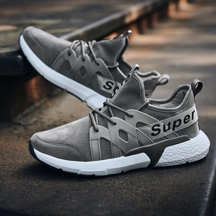 Baskets Chaussures Sneakers Homme Gris