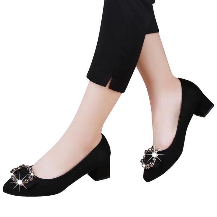 Femmes Mode Femmes Cristal place Talon Slip Casual Sur Mocassins Chaussures simples Noir