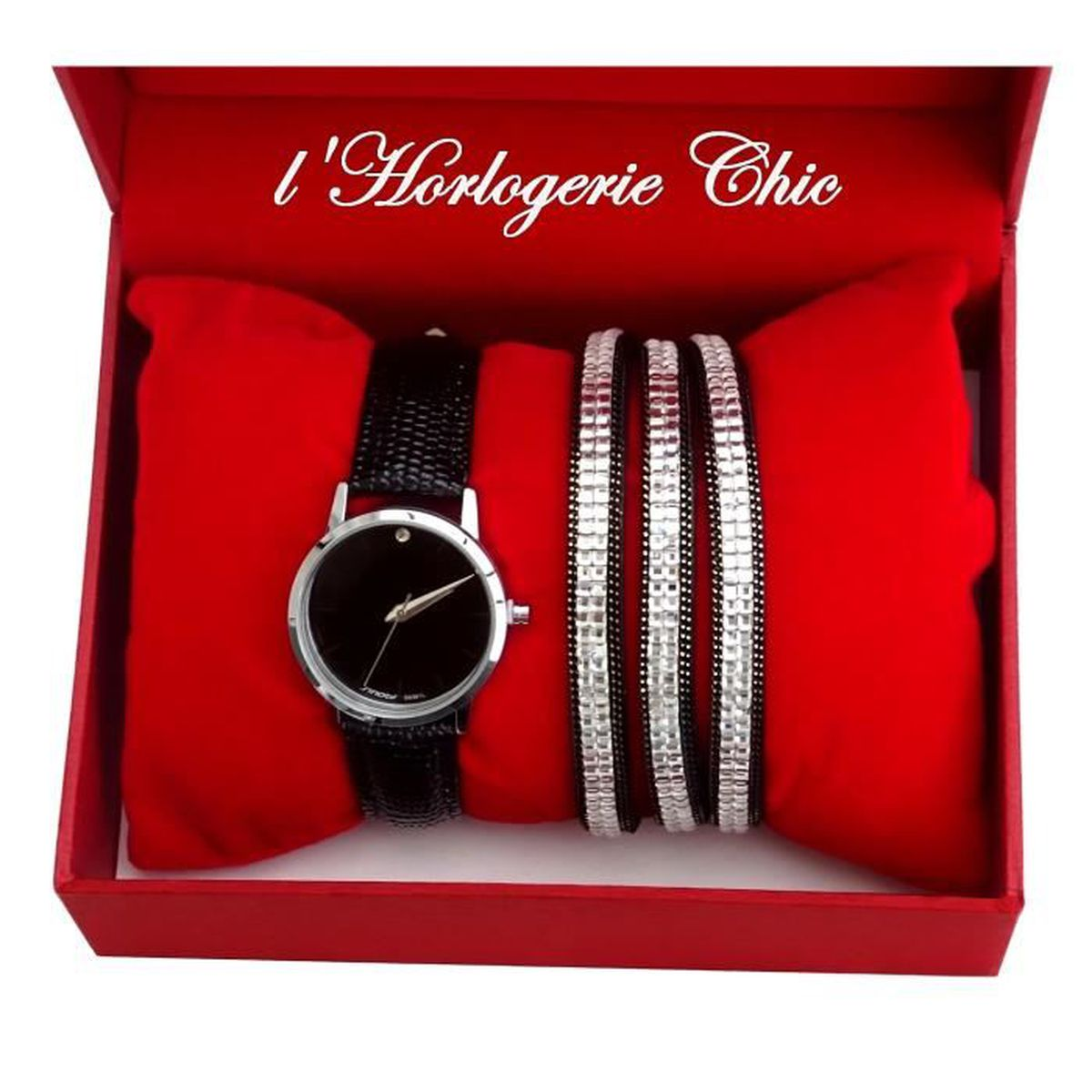 coffret id e cadeau femme montre parure noir bracelet triple tour argent strass achat. Black Bedroom Furniture Sets. Home Design Ideas