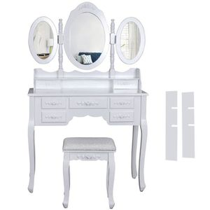 COIFFEUSE Blanc Coiffeuse Table De Maquillage Grand Commode