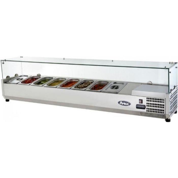 Saladette Réfrigérée à Poser Couvercle Vitré Bacs GN 1/4 - 1200 à 2000 mm - Atosa - R600A 1200 mm