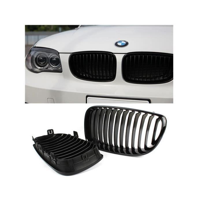 2 GRILLE DE CALANDRE NOIR BRILLANT BMW SERIE 1 E81 E82 E87 E88 PHASE 2 DE 2007 A 2011