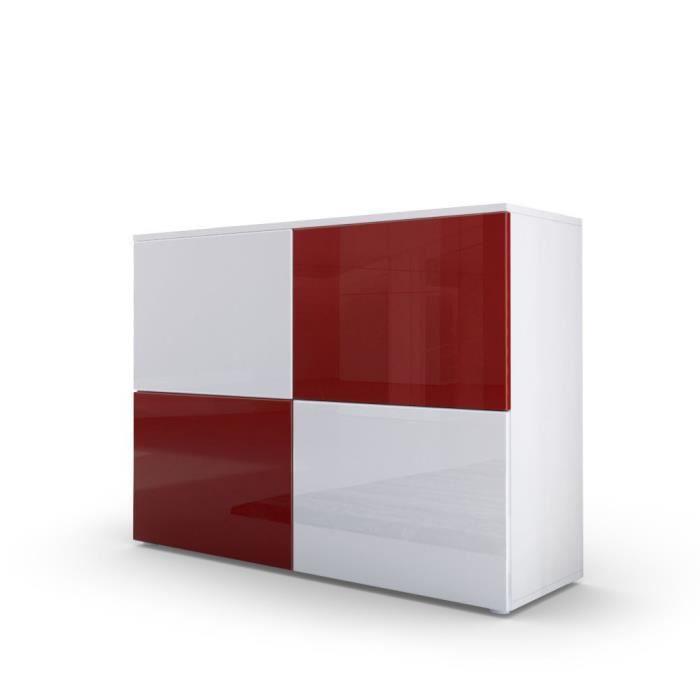 Commode design avec le corps mat blanc et façades laquées bicolores blanches et bordeaux