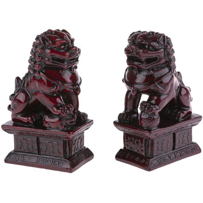 2 Lions Chinois Fo Traditionnel - Protection, Bonheur Et Fortune