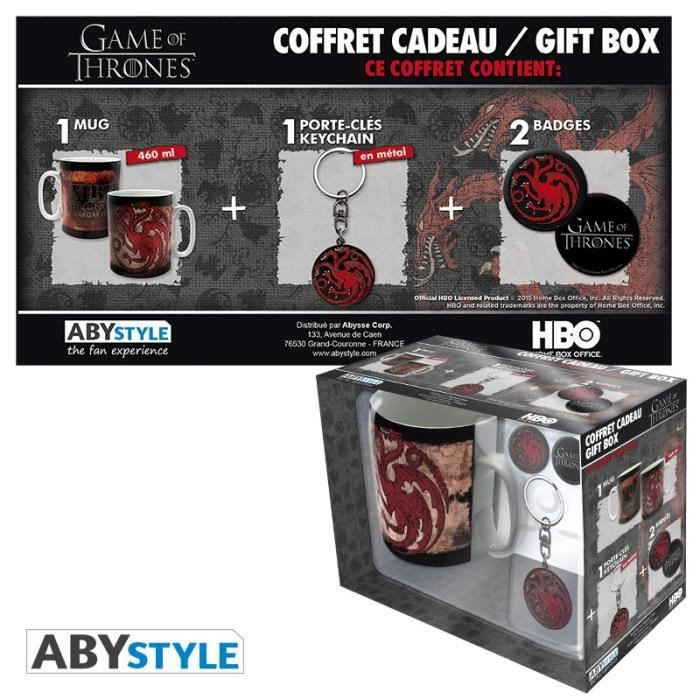 Pack Mug + Porte-clés + Badges Game Of Thrones - Targaryen - ABYstyle