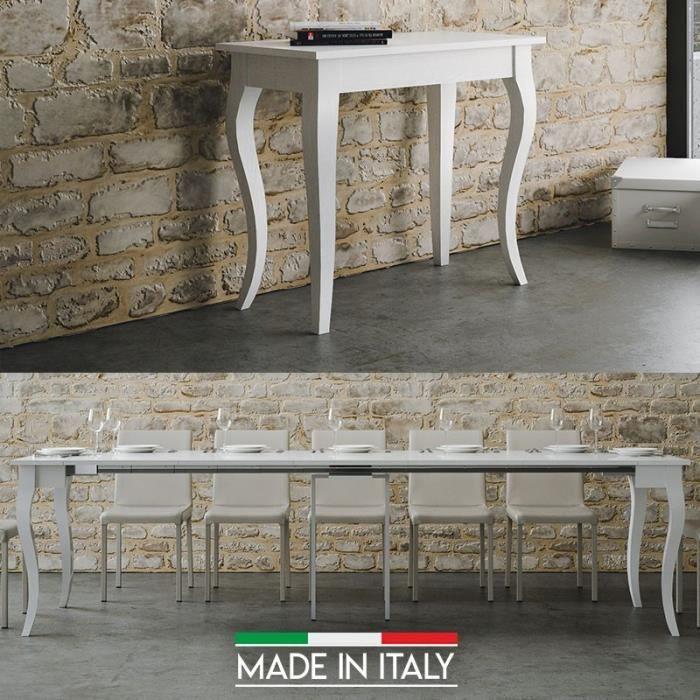 Table Console extensible Olanda - Blanc - 5 Rallonges