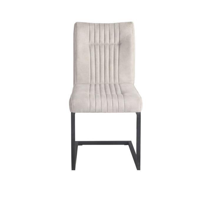 Chaise velours grise anthracite et pieds métal noirs - VIVI
