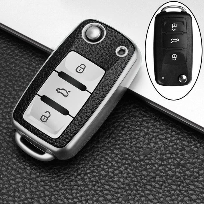 Protecteur de clé en cuir + TPU, accessoires pour voiture, pour POLO Tiguan Passat B5 B6 B7 Golf EOS Scirocco Jetta MK6 [15C48E1]