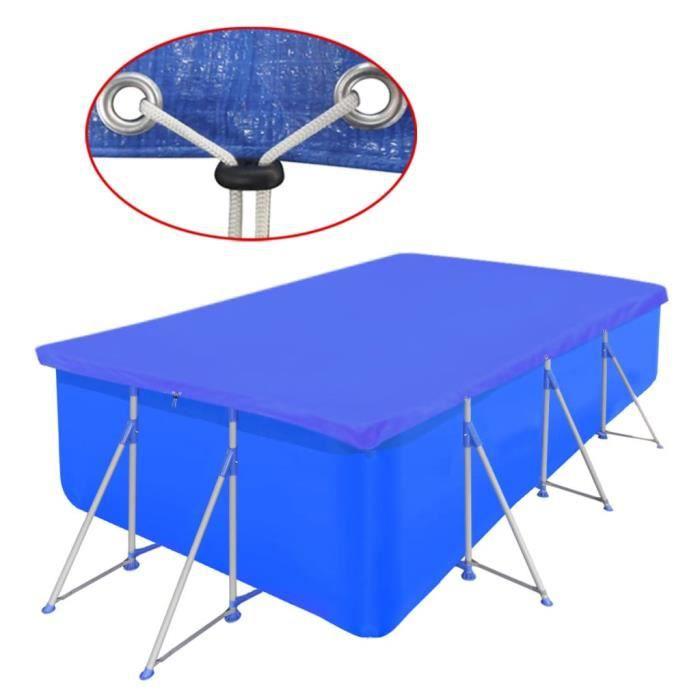 Bâche de protection pour piscine Rectangulaire, Couverture de piscine PE - 90 g-㎡ - 400 x 207 x 10 cm - Bleu foncé