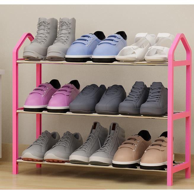 Étagère à Chaussures de 3 Niveaux Porte-Chaussures en Métal Rose pour Entrée Couloir Vestiaire 63 x 20 x 45 cm