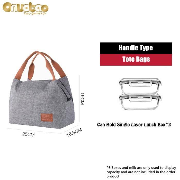 Lunch box isotherme,Sac à déjeuner isolant pour hommes et femmes,fourre tout gris à la mode en tissu Oxford en - Type I--Hand Bag