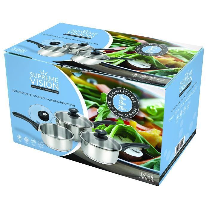 Supreme Vision Ensemble de casseroles avec Couvercle en Verre, Acier INOX