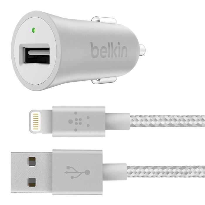 Belkin Chargeur allume-cigare universel USB avec câble - Argent