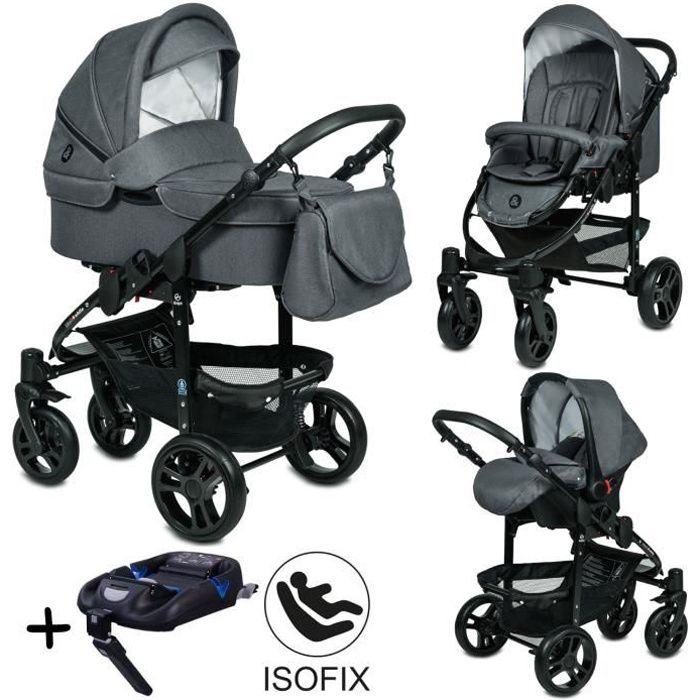 Poussette Trio 3 en 1 B&W ISOFIX – Gris Graphite - Nouveau Design - Landau, poussette promenade, siège auto Groupe 0 - Avec accessoi