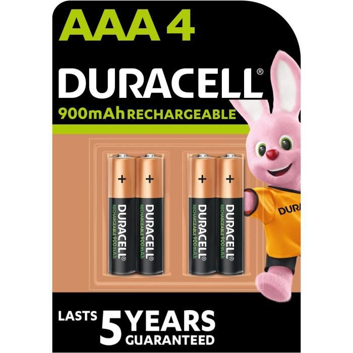 DURACELL Recharges Ultra Piles Rechargeables type LR03 / AAA 900 mAh Lot de 4