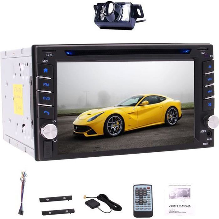 Caméra de recul gratuit + 6,2 pouces voiture stéréo GPS double DIN à écran tactile capacitif RDS Bluetooth Radio AM / FM CD Lecteur