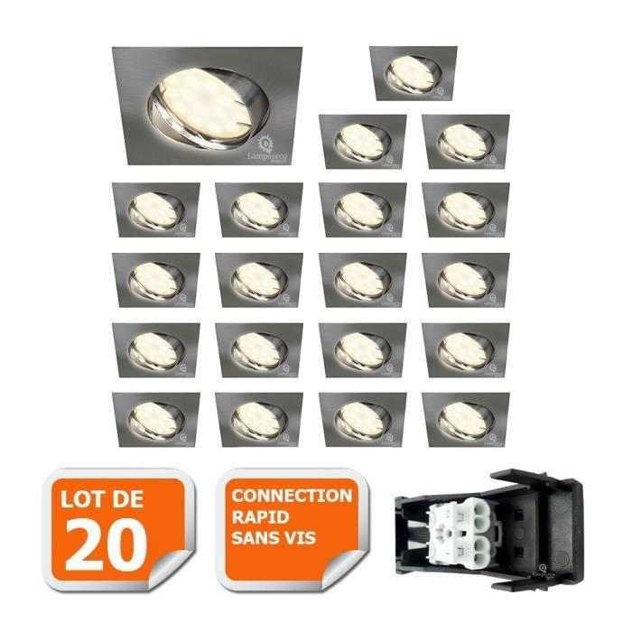 LOT DE 20 SPOT ENCASTRABLE ORIENTABLE LED CARRE ALU BROSSE GU10 230V eq. 50W BLANC NEUTRE