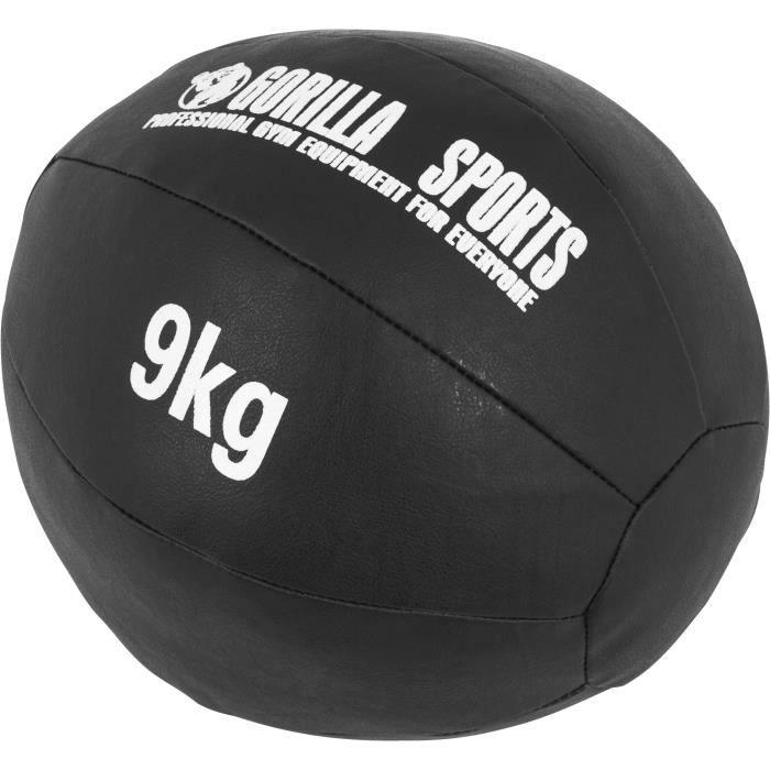 Médecine Ball Gorilla Sports Cuir Synthétique de 1kg à 10kg - 9 KG Noir