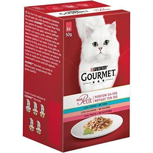 PURINA GOURMET Mon Petit Humide Chat Invitant Recettes avec Thon, Saumon et Truite – 48 sachets de 50 g (8 boîte 761303445382