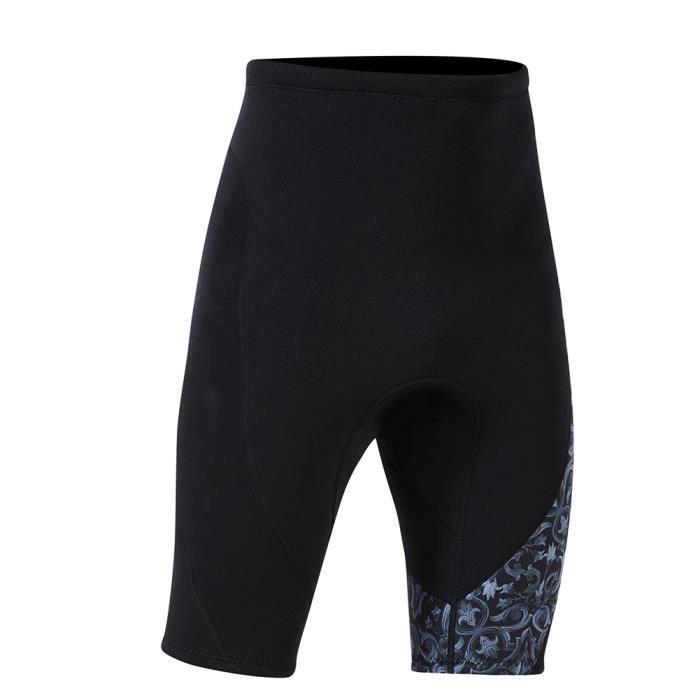 1.5mm Pantalon Court Fendu de Plongée Sport pour Plongée en Apnée Surf Natation(Homme gris M) -CET
