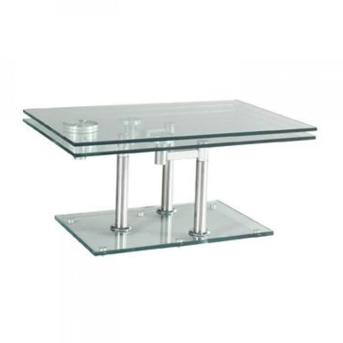 Table basse MATCH CHROME 2 plateaux pivotants en verre piétement chrome transparent Verre Inside75
