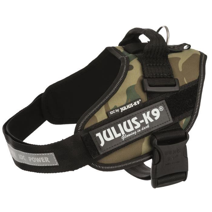 JULIUS K9 Harnais Power IDC Mini–M : 49–67 cm - 22 mm - Camouflage - Pour chien