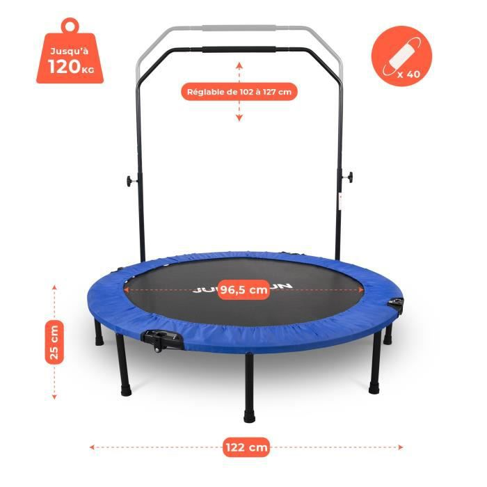 Mini Trampoline Fitness Jump4fun Pliable Double-Bar - Ø122cm, Bleu