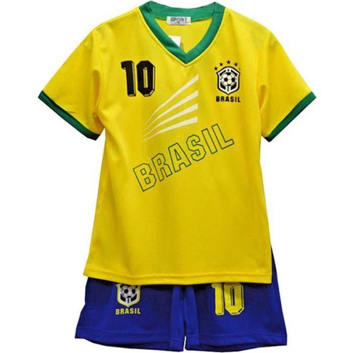 Ensemble De Vetements De Football - Tenue De Football - NPZ - Ensemble short et tee shirt Bresil news Taille 2 à 14 ans