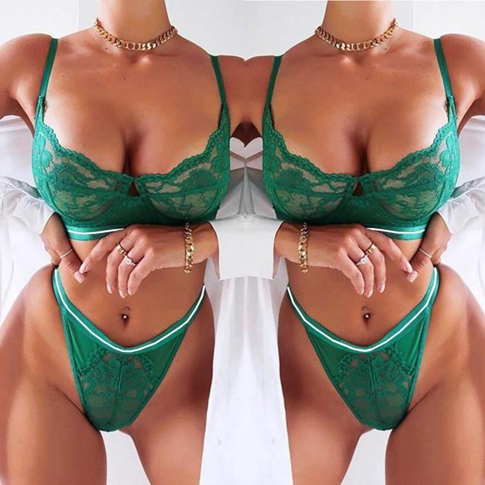 Nouveau mode femmes sexy dentelle soutien-gorge sans fil avec string vêtements de nuit ensemble de lingerie S-3XL vert huanlemusi