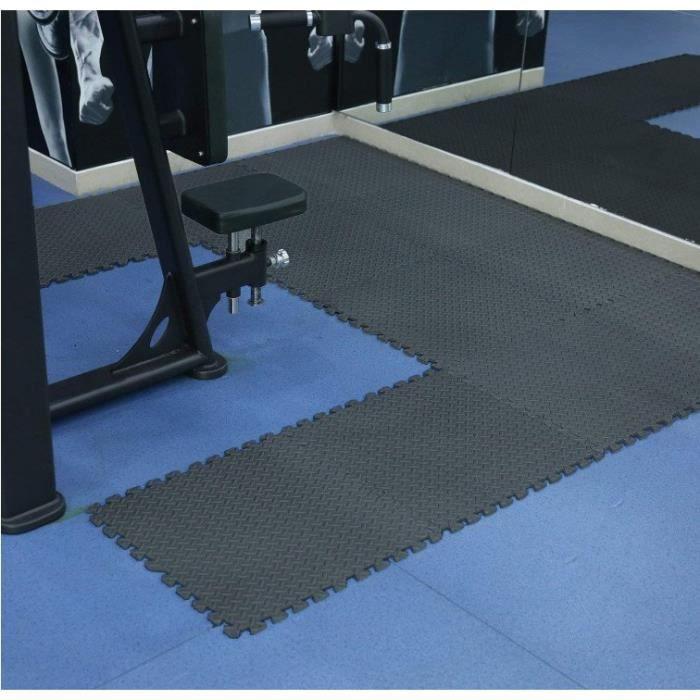 Tapis de Protection de Sol – 12 Dalles en Mousse Antidéparant - Matelas Puzzle pour Sport Fitness, Gym, Musculation
